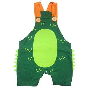 Jardineira Regata Bebê Dinossauro Verde Escuro