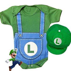 Kit Body Bebê Luigi com Boina