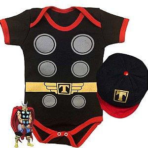 Kit Body Bebê Thor com Boina