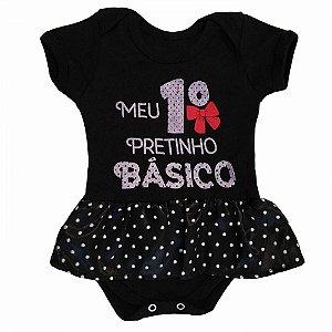 Body Vestido Bebê Meu Primeiro Pretinho Básico