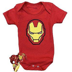 Body Bebê Homem de Ferro Rostinho