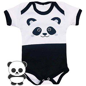 Body Bebê Bichos Panda Preto e Branco