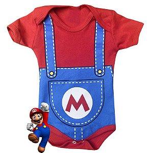 Body Bebê Mario Bros Suspensório