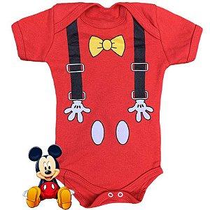 Body Bebê Mickey Suspensório
