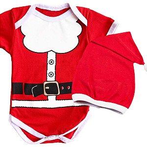 Body Bebê Luxo Natal Papai Noel com Gorro