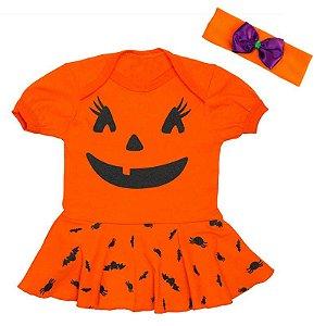 Body Bebê Vestido Halloween Abobóra com Faixa de Cabelo