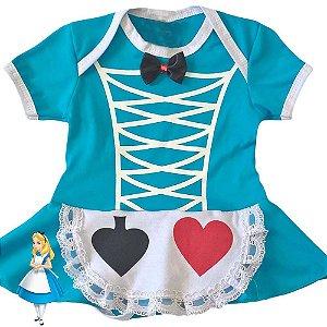 Body Vestido Bebê Luxo Alice no Pais da Maravilhas