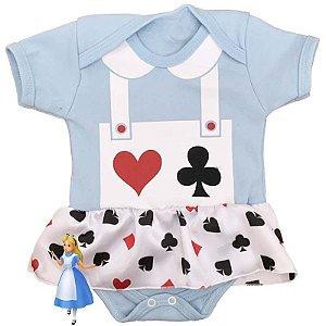 Body Vestido Bebê Alice no Pais das Maravilhas Azul Claro