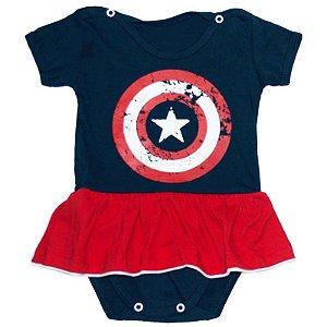 Body Vestido Bebê Capitao America Menina