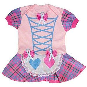 Body Vestido Bebê Luxo Festa Junina Caipirinha Rosa
