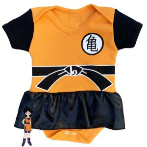 Body Vestido Bebê Dragon Ball Z Goku Menina