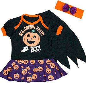 Body Vestido Bebê Halloween Party com Capinha e Faixinha de Cabelo