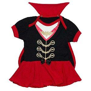 Body Vestido Bebê Halloween Conde Drácula Menina com Capinha
