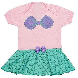 Body Vestido Bebê Luxo Pequena Sereia