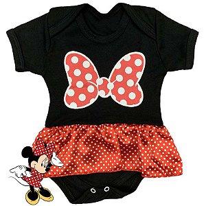 Body Vestido Bebê Minnie Preto