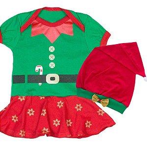 Body Vestido Bebê Natal Ajudante do Papai Noel com Gorro