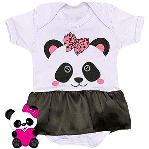 Body Vestido Bebê Panda Preto