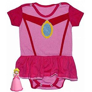 Body Vestido Bebê Luxo Princesa Peach Rosa