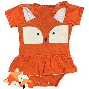 Body Vestido Bebê Luxo Raposa Menina com Orelhinhas