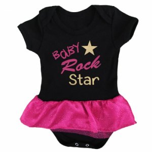 Body Vestido Bebê Rock Star