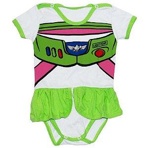 Body Vestido Bebê Luxo Toy Story Buzz Lightyear Menina