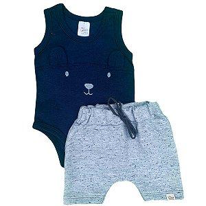 Conjunto Bebê Regata Ursinho Azul Marinho