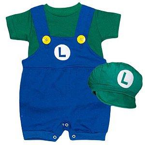 Jardineira Bebê Luxo Luigi com Boina