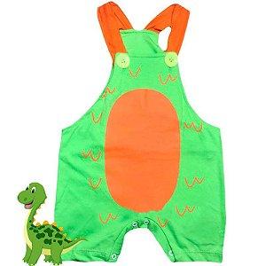 Jardineira Regata Bebê Dinossauro Verde Laranja