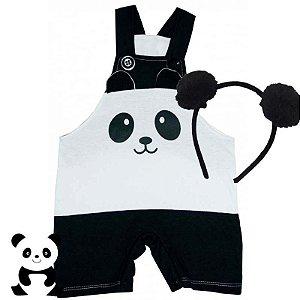 Jardineira Regata Bebê Bichos Panda com Tiara Pompom