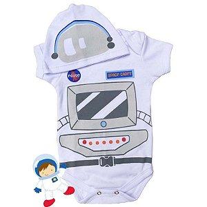 Kit Body Bebê Astronauta com Touquinha