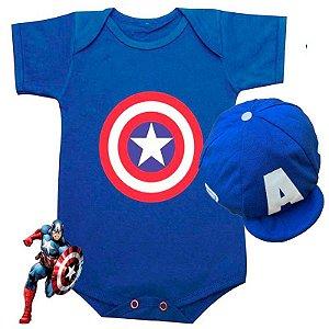 Kit Body Bebê Capitão América Escudo com Boina