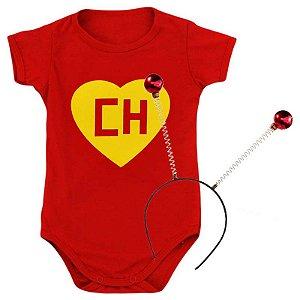 Kit Body Bebê Chapolin Colorado com Tiara Anteninhas