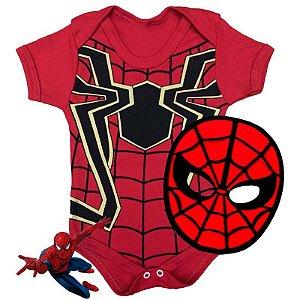 Kit Body Bebê Homem Aranha com Máscara