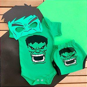 Kit Body Bebê Hulk com Tapa Fralda e Máscara
