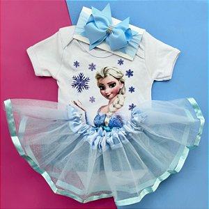 Kit Body Bebê Luxo Tule Elsa Frozen