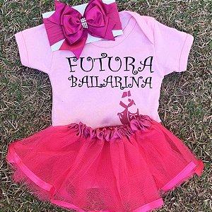 Kit Body Bebê Luxo Tule Futura Bailarina Rosa