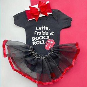 Kit Body Bebê Luxo Tule Leite, Fralda & Rock 'n Roll
