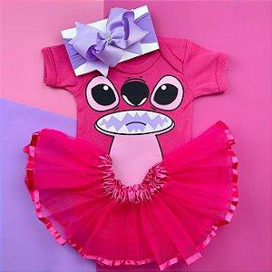 Kit Body Bebê Luxo Tule Lillo & Stitch Rosa