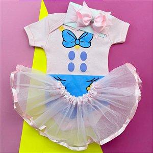 Kit Body Bebê Luxo Tule Margarida