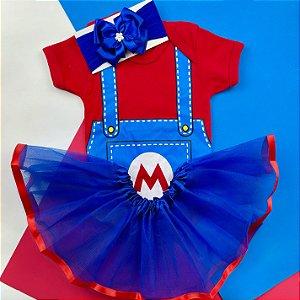 Kit Body Bebê Luxo Tule Mario Bros. Menina