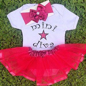 Kit Body Bebê Luxo Tule Mini Diva
