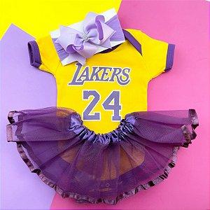 Kit Body Bebê Luxo Tule Basquete NBA Los Angeles Lakers Menina