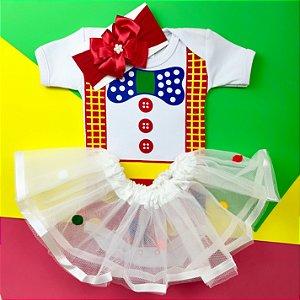 Kit Body Bebê Luxo Tule Palhacinha