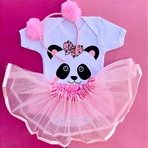 Kit Body Bebê Luxo Tule Panda com Tiara Pompom Rosa