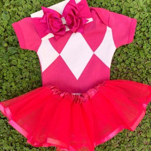 Kit Body Bebê Luxo Tule Power Rangers Rosa Pink