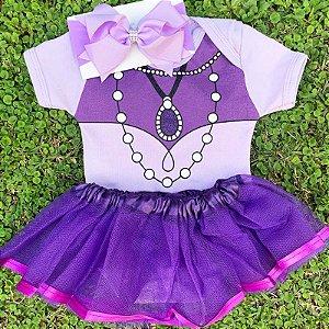 Kit Body Bebê Luxo Tule Princesa Sofia