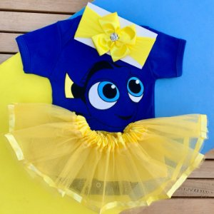 Kit Body Bebê Luxo Tule Procurando Nemo Dory