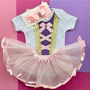 Kit Body Bebê Luxo Tule Rapunzel