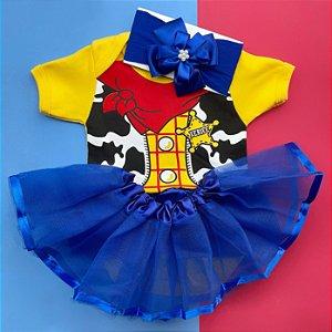 Kit Body Bebê Luxo Tule Toy Story Woody Menina