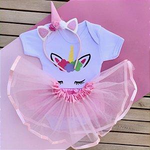 Kit Body Bebê Luxo Tule Unicórnio com Tiara